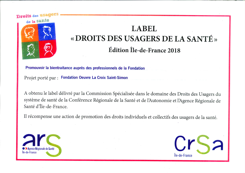 diplome du label droit des usagers de la sante de l'HAD de la Fondation Oeuvre de la Croix saint Simon