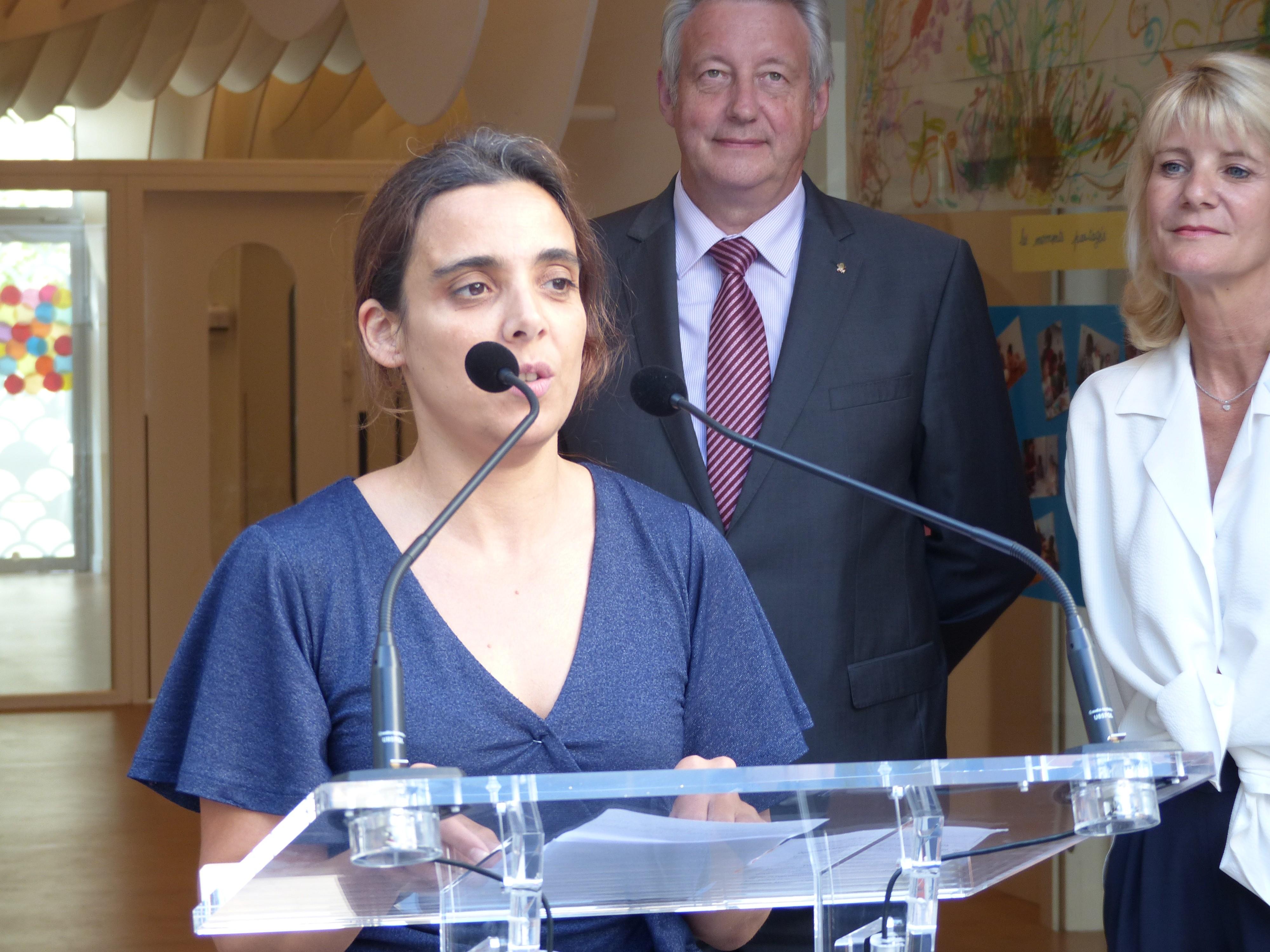 Karine Duchauchoi à la Fondation OEuvre de la Croix Saint-simon lors de l'inauguration du multi-accueil Kirigami